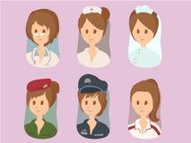 Os desenhos animados das mulheres ajustaram 1 vetor Fotos de Stock Royalty Free