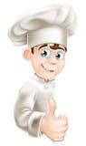 Os desenhos animados do cozinheiro chefe que dão os polegares levantam o sinal Fotografia de Stock