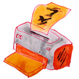 Os desenhos animados do desenho caçoam a impressora da aquarela no branco Fotografia de Stock