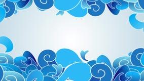 Os desenhos animados do estilo de Swirly nublam-se mover-se como ondas com zumbido para fora dispararam video estoque