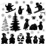 Os desenhos animados do Natal, ajustaram silhuetas pretas Fotos de Stock