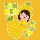 Os desenhos animados do verão com a menina bonito do abacaxi e o abacaxi frutificam para o fundo do t-shirt da criança ilustração royalty free