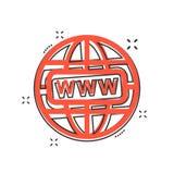 Os desenhos animados do vetor vão ao ícone da Web no estilo cômico Sinal do mundo do globo mim ilustração stock