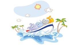 Os desenhos animados dos animais eram um passeio do barco na praia Imagem de Stock Royalty Free