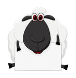Os desenhos animados dos carneiros sentam-se com sinal Fotos de Stock Royalty Free