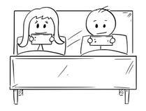 Os desenhos animados dos pares na cama, homem e mulher estão conversando no telefone celular ilustração do vetor