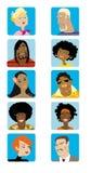 Os desenhos animados enfrentam a coleção ilustração stock
