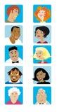 Os desenhos animados enfrentam a coleção Fotografia de Stock Royalty Free