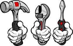 Os desenhos animados entregam ferramentas de terra arrendada Imagem de Stock