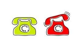 Os desenhos animados estilizaram a imagem do telefone retro, vetor fotos de stock royalty free