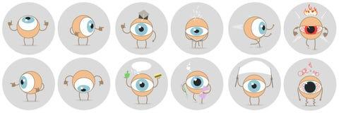 Os desenhos animados eyes com as expressões diferentes, mostrando o lado, educa Foto de Stock Royalty Free