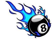 Os desenhos animados flamejantes do vetor da bola dos bilhar oito que queimam-se com fogo ardem ilustração stock