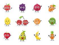 Os desenhos animados frutificam caráteres Fotos de Stock