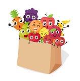 Os desenhos animados frutificam caráteres com saco de compras Fotografia de Stock
