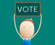 Os desenhos animados guardam um voto do sinal,  Imagens de Stock