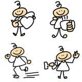 Os desenhos animados Hand-drawn relaxam atividades Imagem de Stock Royalty Free