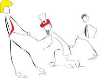 Os desenhos animados Obama retrocedem o tio Sam para baixo, trunfo puxam-no para cima Imagem de Stock