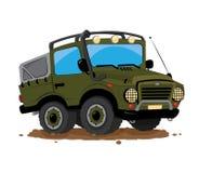 Os desenhos animados Offroad do jipe 4x4 estacionaram na lama Ilustração Stock