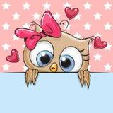 Os desenhos animados Owl Girl do ute do ¡ de Ð estão guardando um cartaz ilustração do vetor