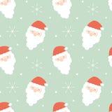Os desenhos animados Papai Noel enfrentam a ilustração sem emenda dos feriados do fundo do teste padrão Fotografia de Stock