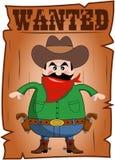 Os desenhos animados quiseram o cartaz com vaqueiro mau Fotografia de Stock Royalty Free