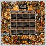 Os desenhos animados rabiscam o outono molde do calendário de 2018 anos Inglês, começo de domingo fotos de stock royalty free