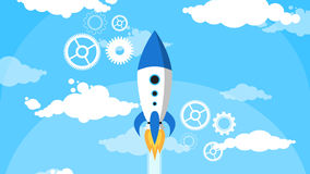 Os desenhos animados Rocket Fly Blue Sky White nublam-se horizontalmente ilustração do vetor