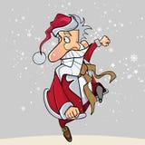 Os desenhos animados Santa Claus engraçada correm felizmente no lúpulo Foto de Stock
