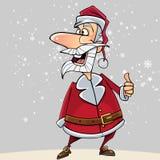 Os desenhos animados Santa Claus engraçada mostram um polegar de aprovação do gesto acima Foto de Stock Royalty Free