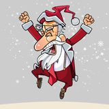 Os desenhos animados Santa Claus feliz com vidros saltaram felizmente acima Foto de Stock