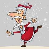 Os desenhos animados Santa Claus feliz estão em uma andorinha da pose Fotos de Stock Royalty Free