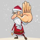 Os desenhos animados Santa Claus irritada param à mão Imagens de Stock Royalty Free