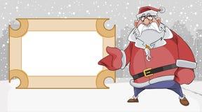 Os desenhos animados Santa Claus triste apontam a um quadro indicador vazio ilustração royalty free