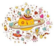 Os desenhos animados Saturn com grupo de caráteres espaçam o cosmos ilustração do vetor