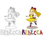 Os desenhos animados simples do desenho para a imagem colorindo das crianças com nomes diferentes na compatibilidade com o caráte ilustração royalty free