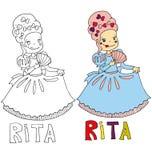 Os desenhos animados simples do desenho para a imagem colorindo das crianças com nomes diferentes na compatibilidade com o caráte ilustração stock