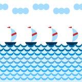 Os desenhos animados simples yachts a navigação no mar azul, beira sem emenda, vetor ilustração do vetor
