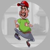 Os desenhos animados surpreenderam o homem em um tampão que corre rapidamente abaixo da rua ilustração do vetor
