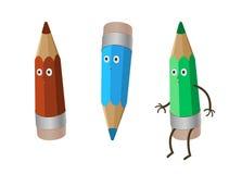 Os desenhos animados três engraçados loucos coloridos escrevem - o pastel vermelho, o verde e o azul isolado no trajeto de grampe Fotografia de Stock Royalty Free