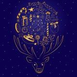 Os desenhos bonitos das crianças arranjaram em uma forma de um círculo entre chifres do ` s dos cervos Silhueta dourada tirada mã Fotografia de Stock