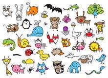 Os desenhos da criança dos animais Fotos de Stock Royalty Free