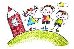 Os desenhos das crianças no lápis no papel, jardim de infância, tirando, aprendendo, tirando com o professor ilustração stock