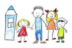 Os desenhos das crianças no lápis no papel, jardim de infância, tirando, aprendendo, tirando com o professor ilustração do vetor