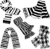 Os desenhos do vetor das lãs fizeram malha scarves foto de stock