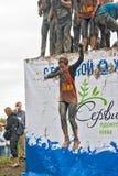 Os desportistas saltam na água Caráter de aço Tyumen Imagens de Stock Royalty Free