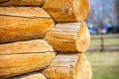 Os detalhes da junção de canto da cabana rústica de madeira com logs redondos e a mola obscura ajardinam no fundo no dia de mola  Foto de Stock Royalty Free