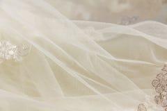 Os detalhes da noiva vestem a tela e o weddi bonito do bordado Fotos de Stock Royalty Free
