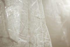 Os detalhes da noiva vestem a tela e o weddi bonito do bordado Imagens de Stock