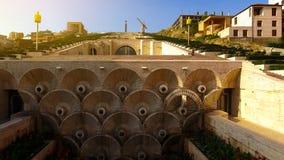 Os detalhes de Yerevan conectam, fontes pequenas dentro do showplace popular, turismo foto de stock
