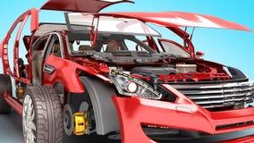 Os detalhes do carro vermelho em um fundo azul 3D rendem ilustração do vetor